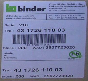 43172611003 Binder Magnetventilsteckverbinder