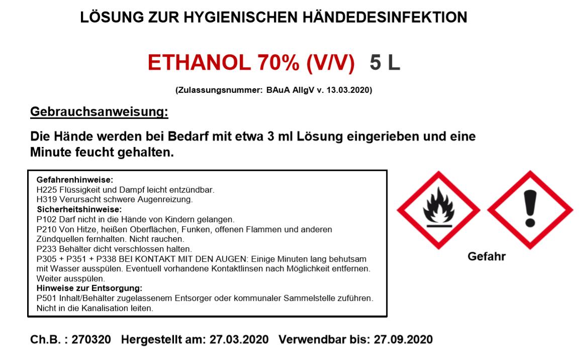 Lösung Händedesinfektion Klinikum excess24